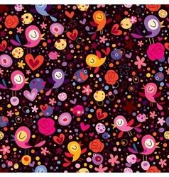Birds flowers pattern vector