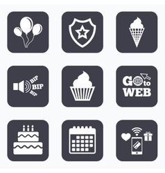 Birthday party icons Cake with ice cream symbol vector image vector image