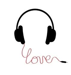 Black headphones red cord in shape of word love vector