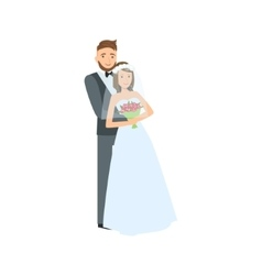 Bride and groom newlywed couple in traditional vector