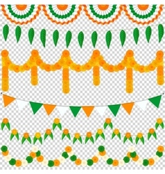 Bunting Indian set vector image vector image