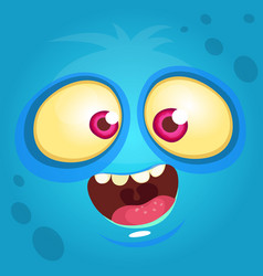 cartoon funny monster face vector image vector image