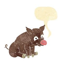 cartoon happy pig with speech bubble vector image vector image