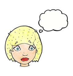 cartoon worried female face with thought bubble vector image vector image