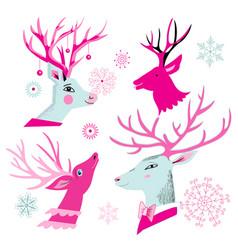 christmas set of deer heads vector image vector image