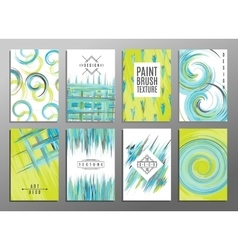 Collection of 8 hand drawn card templates Paint vector image