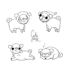Cute pugs pet clothes vector