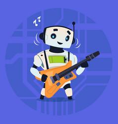Cute robot playing guitar modern artificial vector