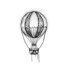 Dotwork hot air balloon vector