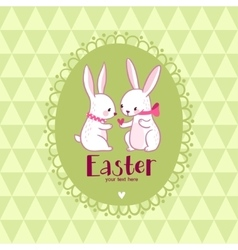 Easter card with love rabbits vector