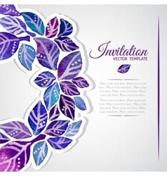 Elegant invitation template with watercolor wreath vector