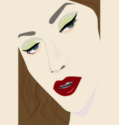 Female portrait with red lips eps file vector