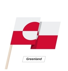 Greenland ribbon waving flag isolated on white vector