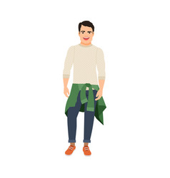 guy with sweater at the waist vector image vector image