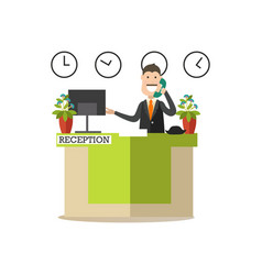 Hotel receptionist in flat vector