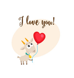 I love you card with goat holding heart shaped vector
