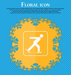Ice skating icon Floral flat design on a blue vector image vector image