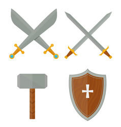 Knights symbols medieval weapons heraldic vector