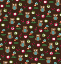 Owls apples and mushrooms pattern vector