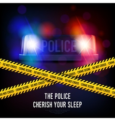 Police crime tape and siren vector