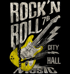 rockn roll poster guitar graphic design tee art vector image vector image