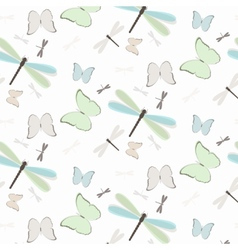 Seamless pattern with dragonflies and butterflies vector image vector image