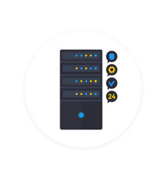 server icon in flat style vector image vector image