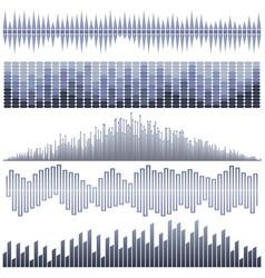 Set of dark blue sound waves vector