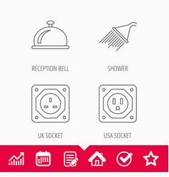 Shower uk socket and usa socket icons vector