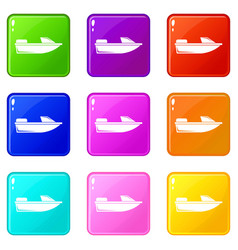 Sports powerboat icons 9 set vector