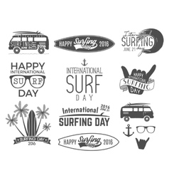 Summer surfing day graphic elements vector image vector image