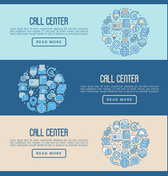 support service concept with thin line call center vector image vector image