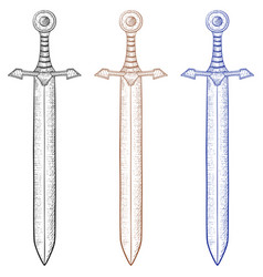 sword hand drawn sketch vector image vector image