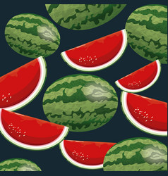 watermelon fruit fresh seamless pattern design vector image vector image