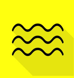 Waves sign black icon with flat vector