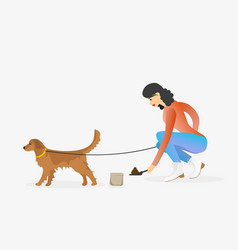 Woman cleaning after golden retriever dog vector