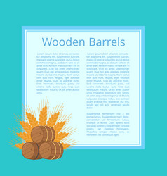 Wooden barrels and ripe wheat ears vector