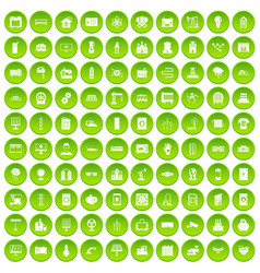 100 electrical engineering icons set green circle vector