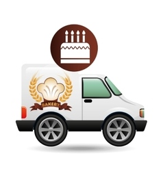 Transport of birthday cake vector
