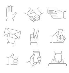 Hand thin line icon set vector
