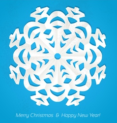 Applique snowflake Christmas card on grunge vector image