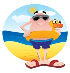Tourist on the beach vector image