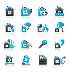 Home risk and insurance icons vector