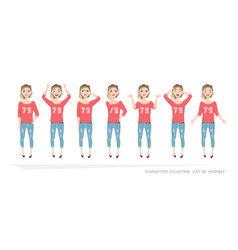Set of emotions and gestures to the young woman vector