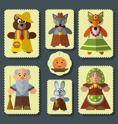 Set of the bun russian folk fairy tale vector
