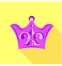 purple crown with lily flower icon flat style vector image
