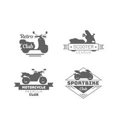 Black motorcycle logotypes set vector