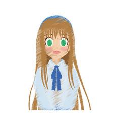 Cute anime or manga girl icon image vector