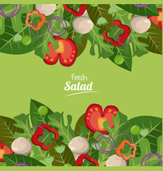 Fresh salad vegetables organic delicious food vector