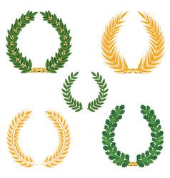 Laurel wreaths set silhouette symbol collection vector